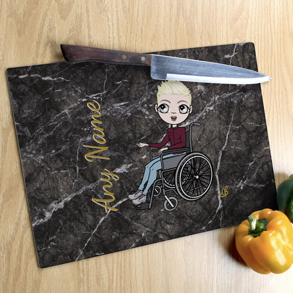 MrCB Wheelchair Glass Chopping Board - Marble Effect - Image 2
