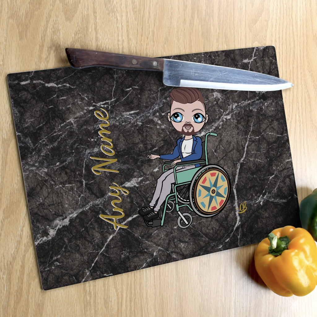 MrCB Wheelchair Glass Chopping Board - Marble Effect - Image 1