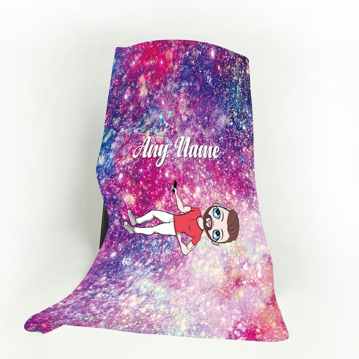 MrCB Galaxy Glitter Fleece Blanket - Image 1