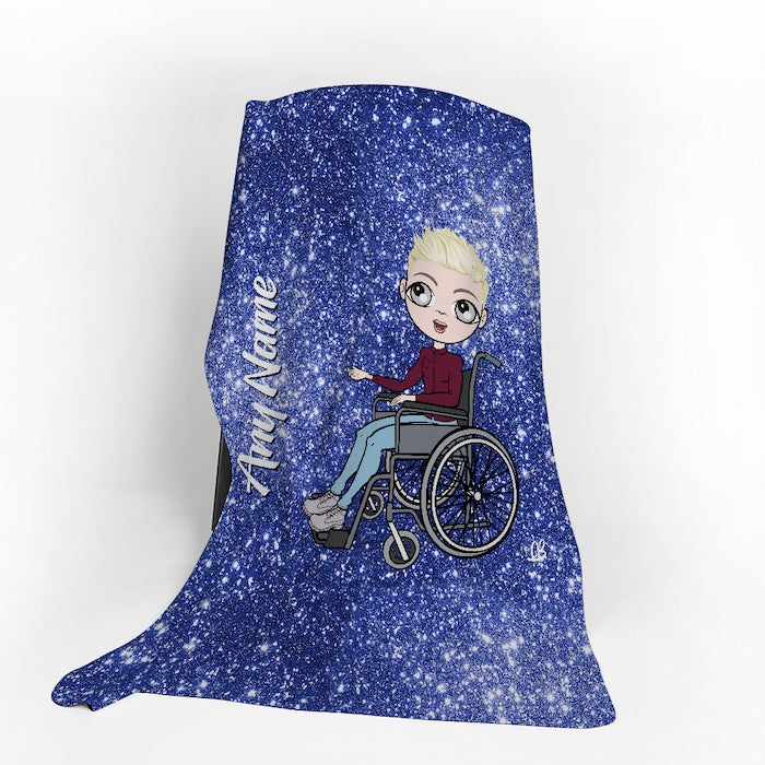 MrCB Wheelchair Portrait Blue Glitter Effect Fleece Blanket - Image 1