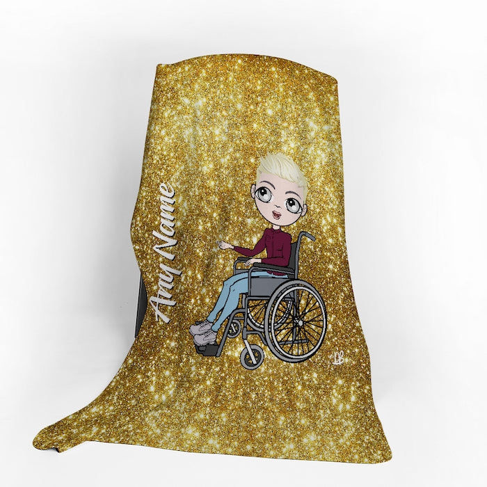 MrCB Wheelchair Portrait Gold Glitter Effect Fleece Blanket - Image 1