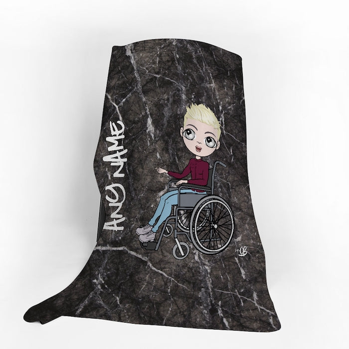 MrCB Wheelchair Portrait Marble Fleece Blanket - Image 1