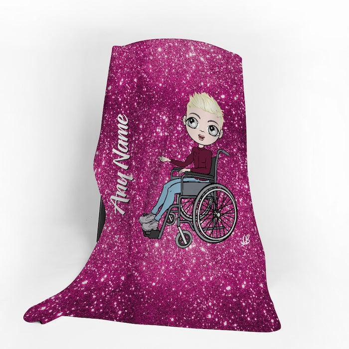 MrCB Wheelchair Portrait Pink Glitter Effect Fleece Blanket - Image 1