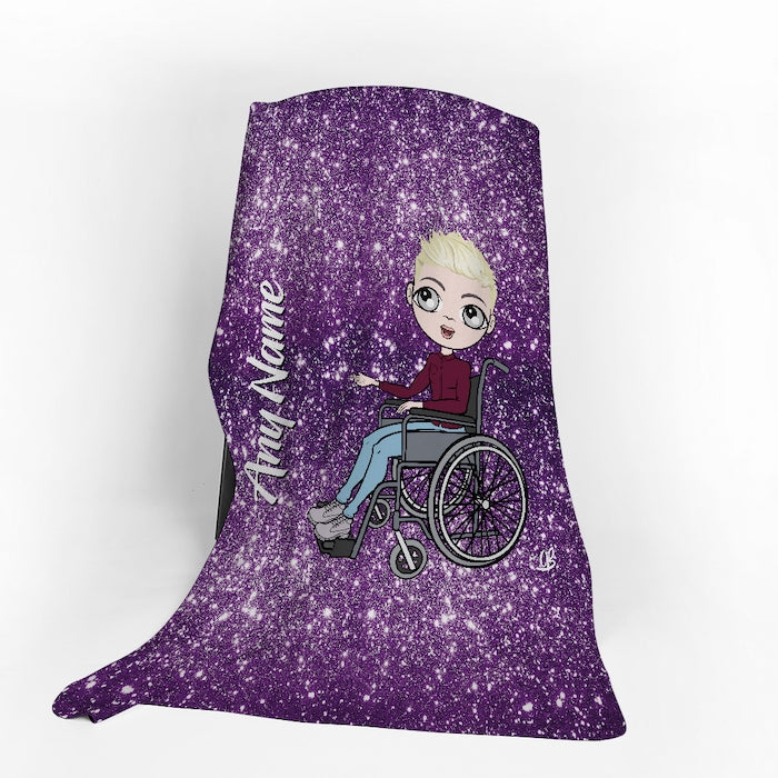 MrCB Wheelchair Portrait Purple Glitter Effect Fleece Blanket - Image 1
