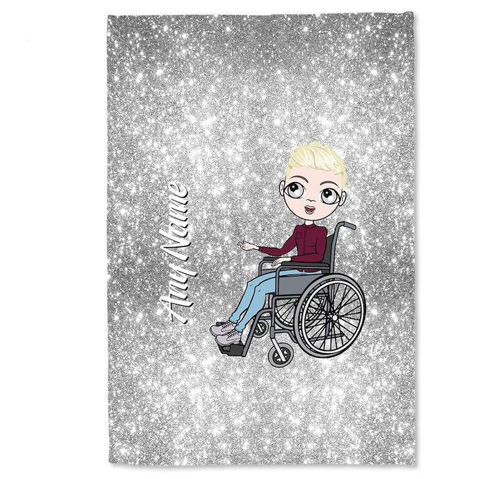 MrCB Wheelchair Portrait Silver Glitter Effect Fleece Blanket - Image 3