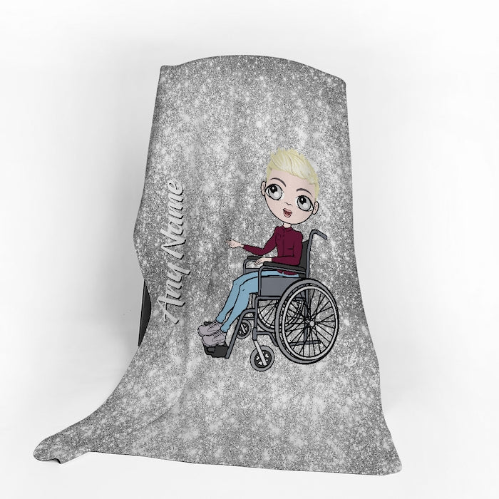 MrCB Wheelchair Portrait Silver Glitter Effect Fleece Blanket - Image 1