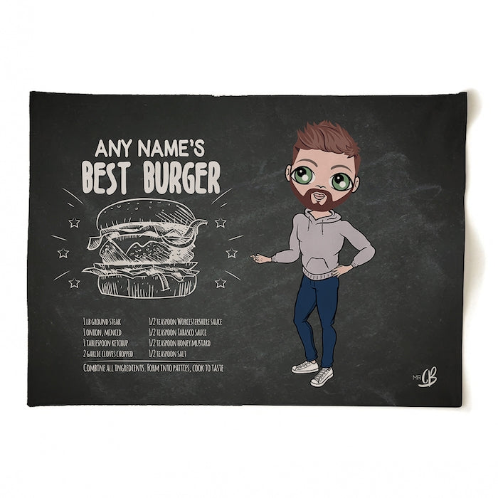 MrCB Personalised Best Burger Recipe Tea Towel - Image 1