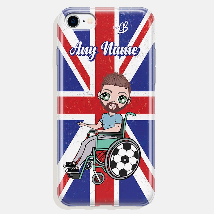 MrCB Wheelchair Personalised Union Jack Phone Case - Image 1