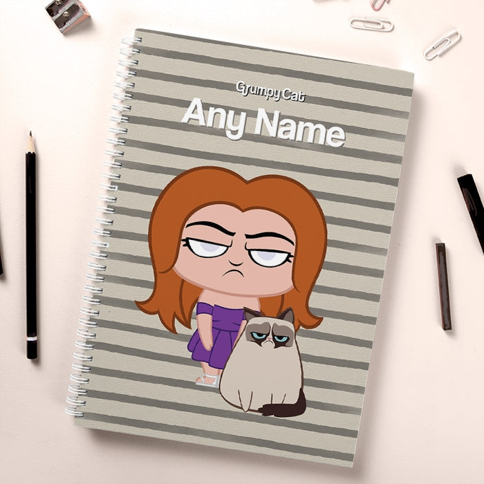 Grumpy Cat Stripe Hardback Notebook - Image 1