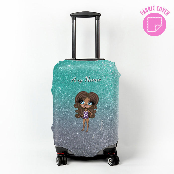 ClaireaBella Girls Ombre Glitter Effect Suitcase Cover