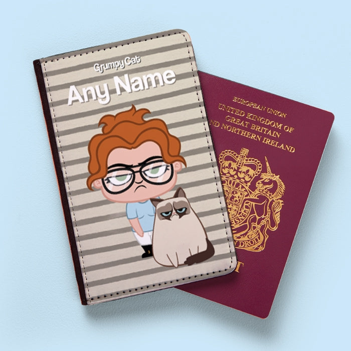 Grumpy Cat Stripe Passport Cover - Image 1