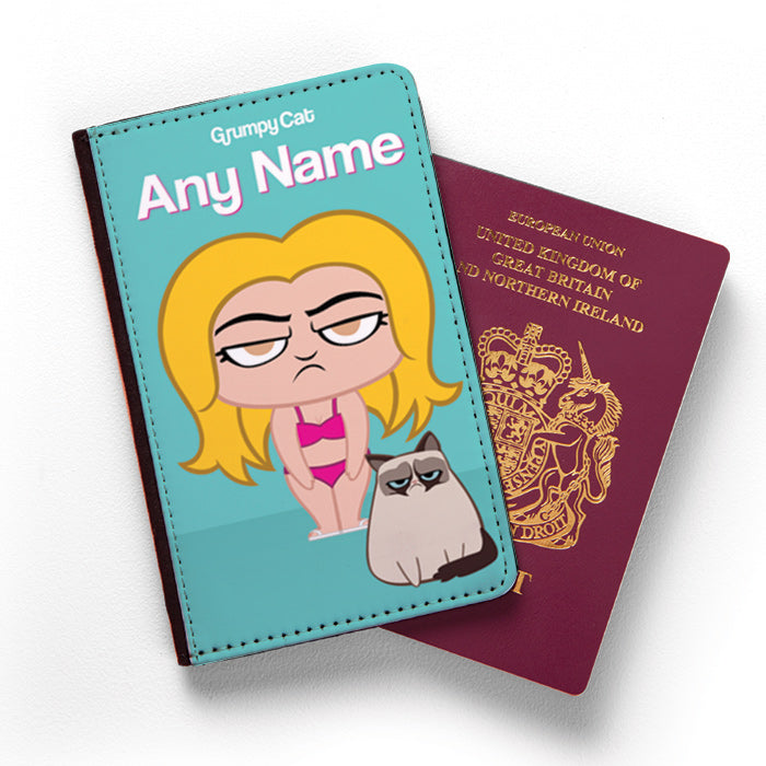 Grumpy Cat Turquoise Passport Cover