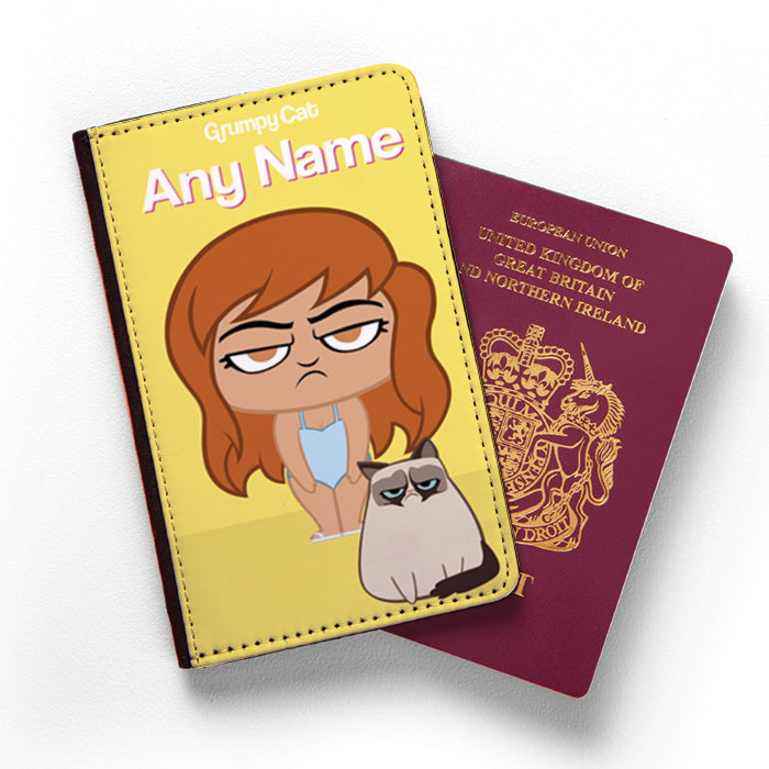 Grumpy Cat Yellow Passport Cover
