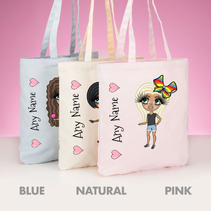 ClaireaBella Girls Pastel Canvas Shopper