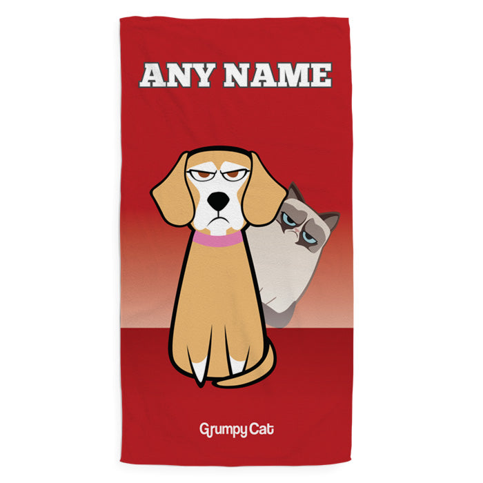 Grumpy Cat Red Pet Towel
