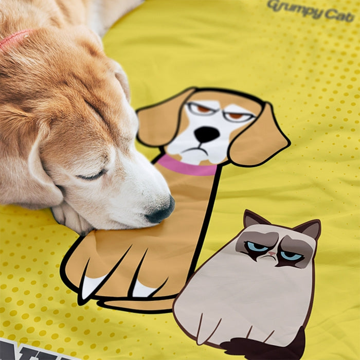 Grumpy Cat Yellow Pet Blanket - Image 1