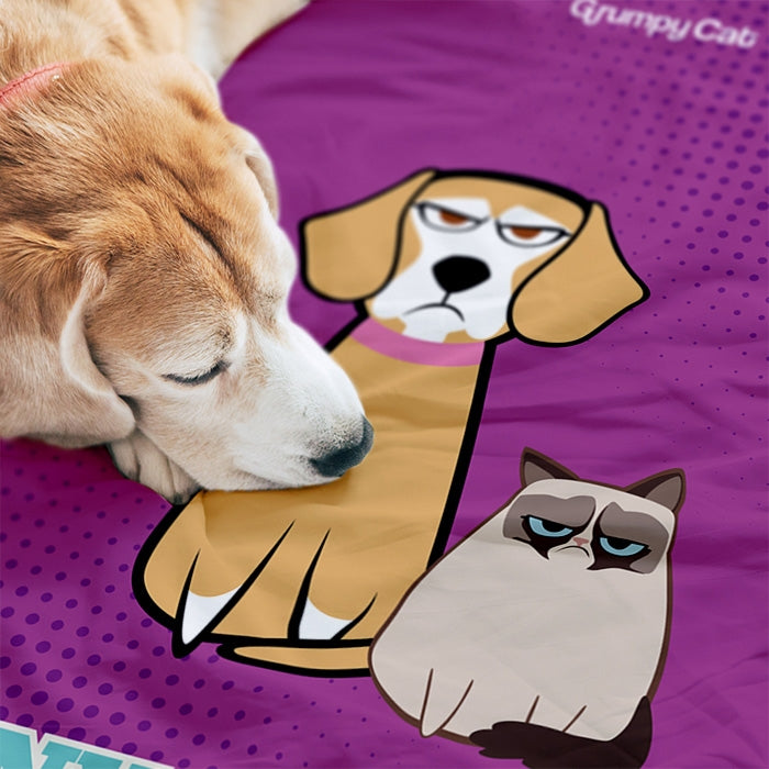 Grumpy Cat Purple Pet Blanket - Image 1