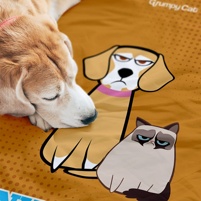 Grumpy Cat Orange Pet Blanket - Image 1