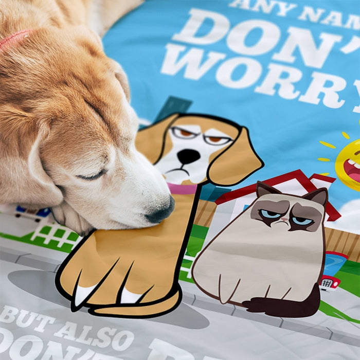 Grumpy Cat Don't Worry Pet Blanket - Image 2