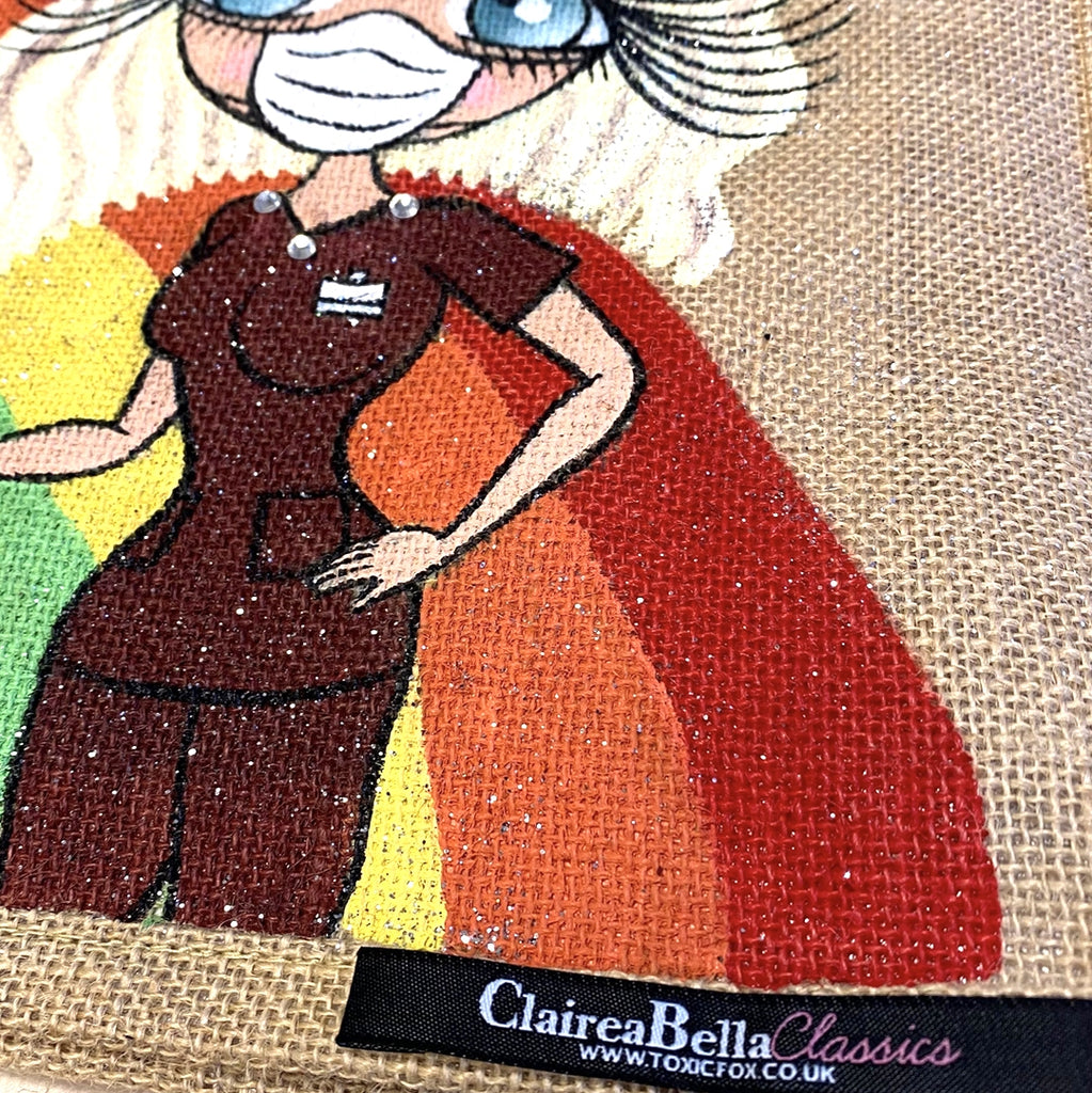 ClaireaBella Large Rainbow Jute Bag - Image 5