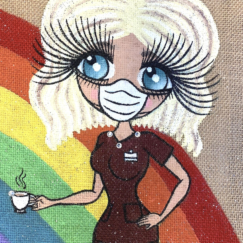 ClaireaBella Large Rainbow Jute Bag - Image 3