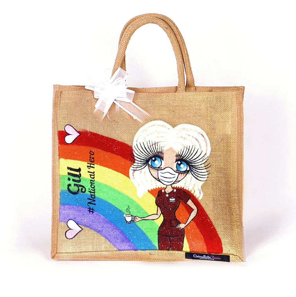 ClaireaBella Large Rainbow Jute Bag - Image 1