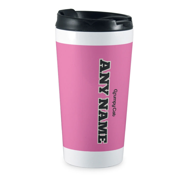 Grumpy Cat Pink Travel Mug - Image 3
