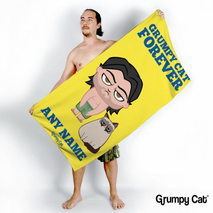 Grumpy Cat Forever Yellow Beach Towel - Image 1