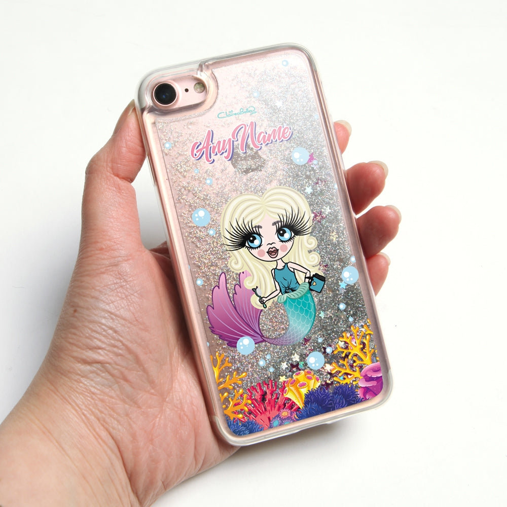 ClaireaBella Girls Mermaid Liquid Glitter Phone Case - Silver - Image 1
