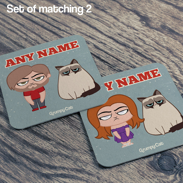 Grumpy Cat Blue Coaster
