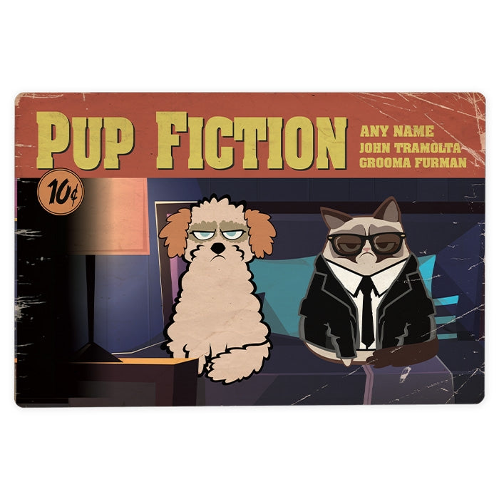 Grumpy Cat Pup Fiction House Sign - Image 1
