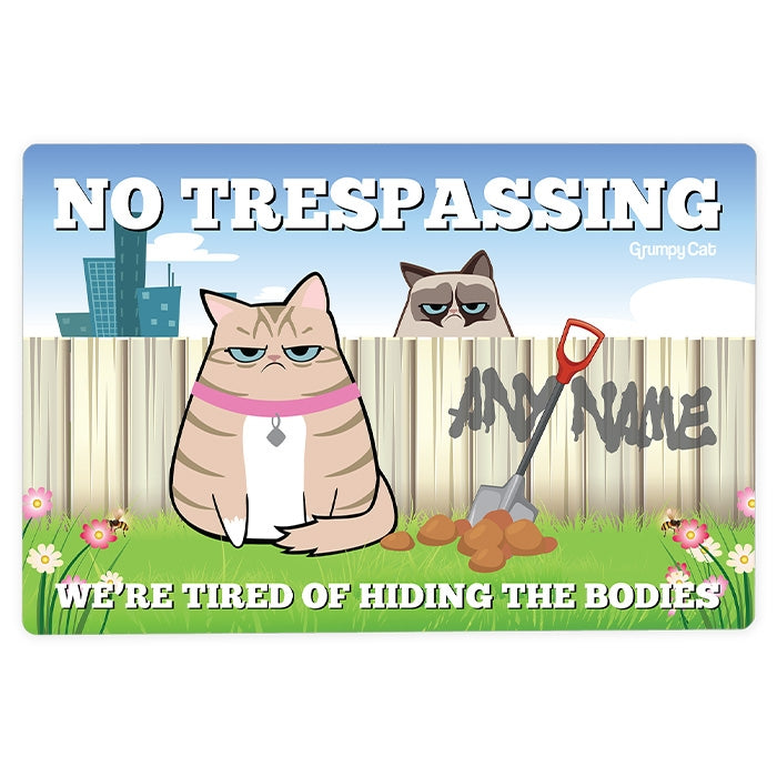 Grumpy Cat No Trespassing House Sign - Image 1