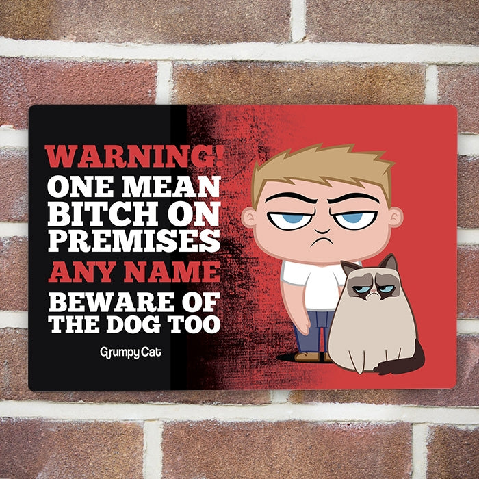 Grumpy Cat Warning House Sign - Image 2