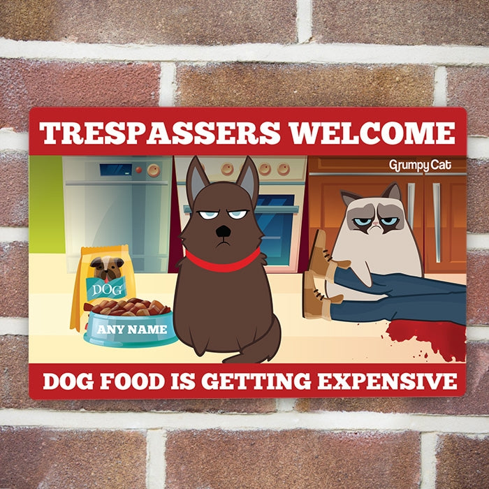 Grumpy Cat Trespassers Welcome House Sign - Image 2