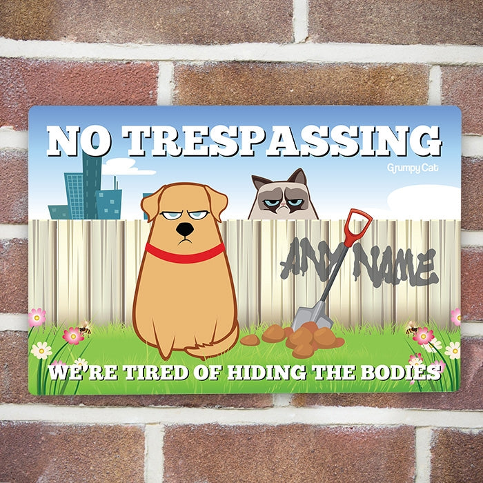 Grumpy Cat No Trespassing House Sign - Image 2