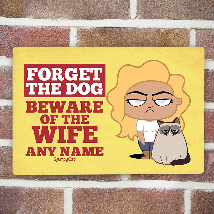 Grumpy Cat Beware Wife House Sign - Image 1