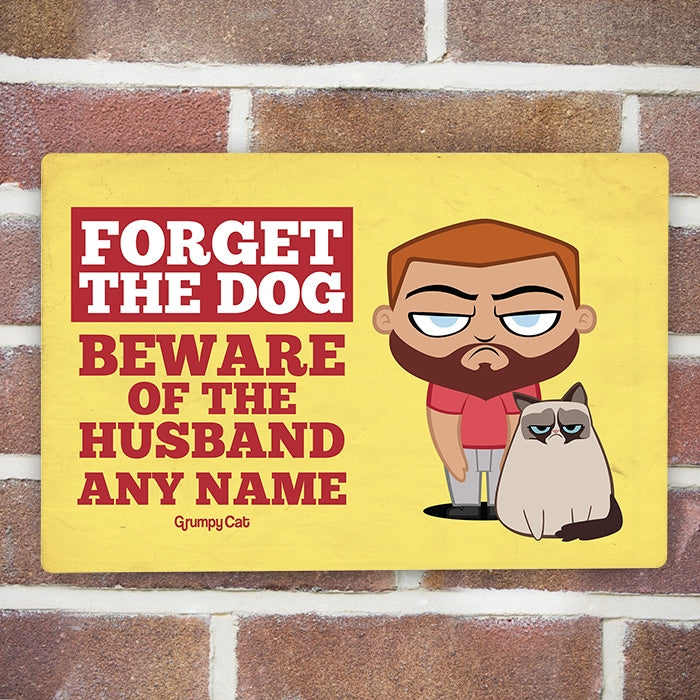 Grumpy Cat Beware Husband House Sign - Image 1