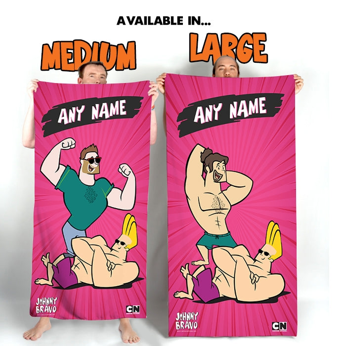 Johnny Bravo Guys Shining Pink Beach Towel - Image 3