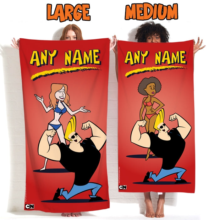 Johnny Bravo Ladies Red Beach Towel - Image 4
