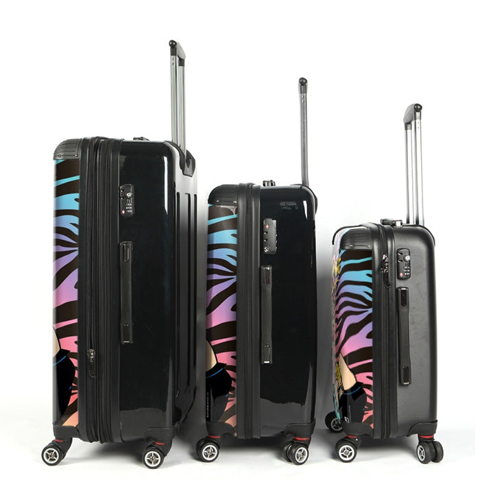 Johnny Bravo Ladies Zebra Print Vibes Suitcase - Image 3