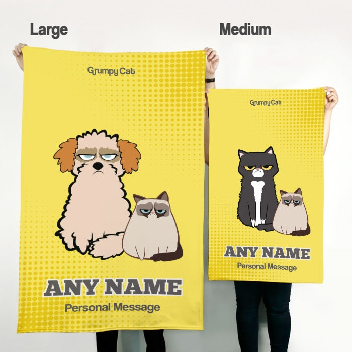 Grumpy Cat Yellow Pet Blanket - Image 2