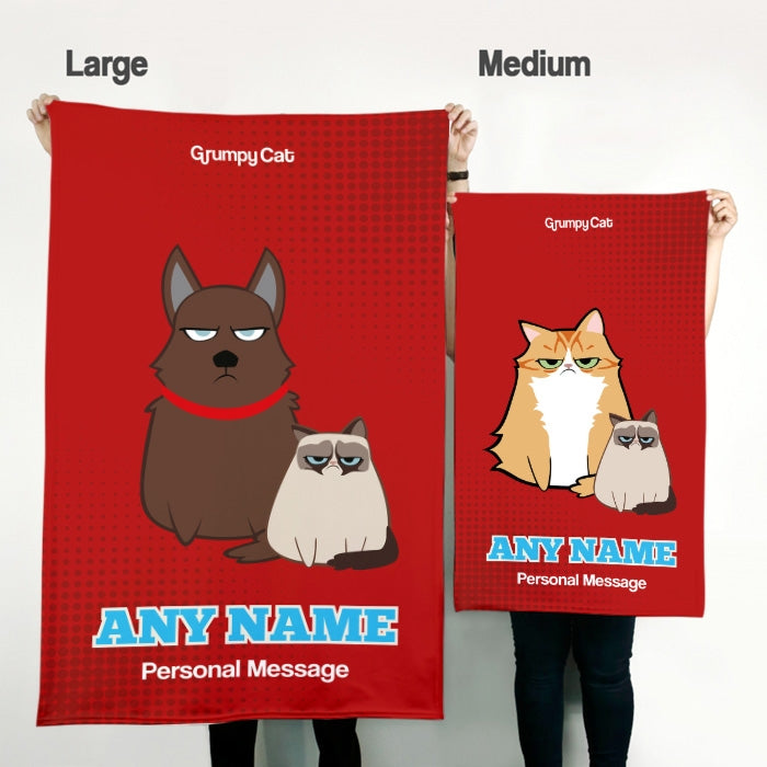 Grumpy Cat Red Pet Blanket - Image 3