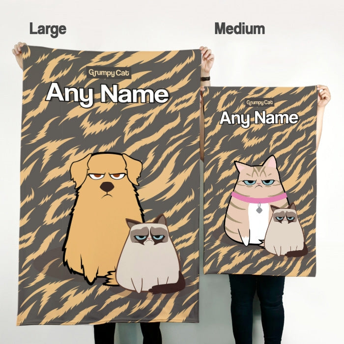 Grumpy Cat Animal Print Pet Blanket - Image 3