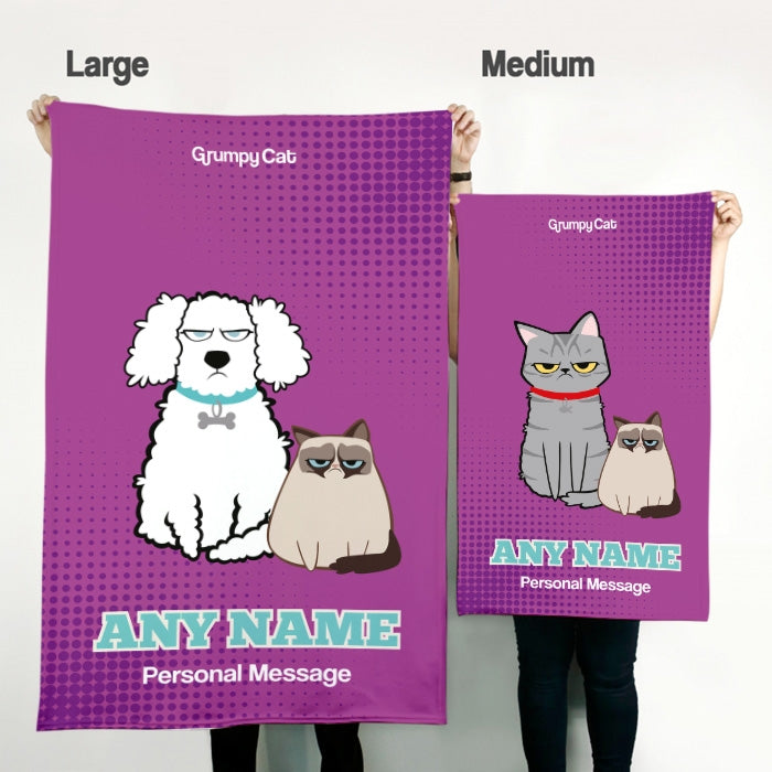 Grumpy Cat Purple Pet Blanket - Image 3