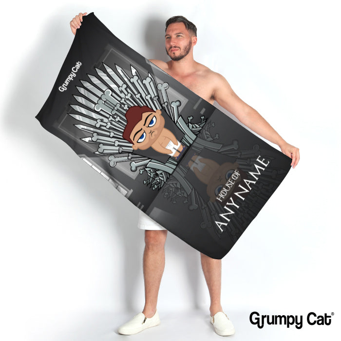 Grumpy Cat Throne Of Bones Beach Towel