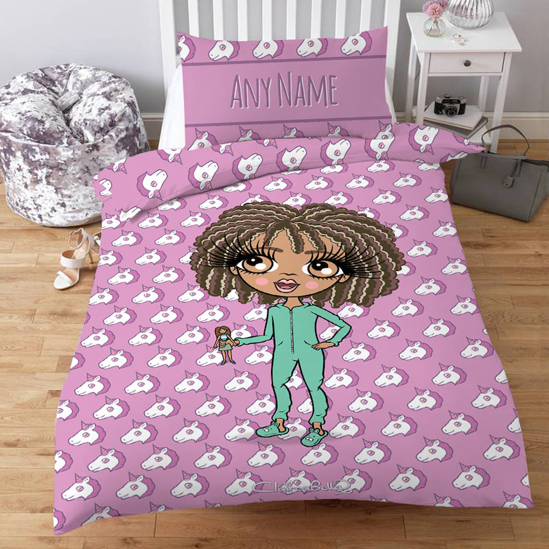 ClaireaBella Girls Personalised Unicorn Emoji Bedding
