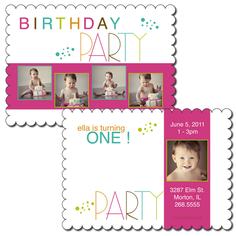 Boutique Scalloped B2 5x7 Birthday Card