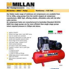 AB60 MCMILLAN 150L AIR COMPRESSOR 415V 7.5hp 2 STAGE