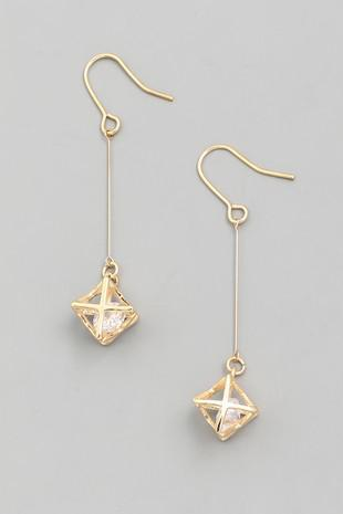 Square Crystal Dangle Drop Earrings