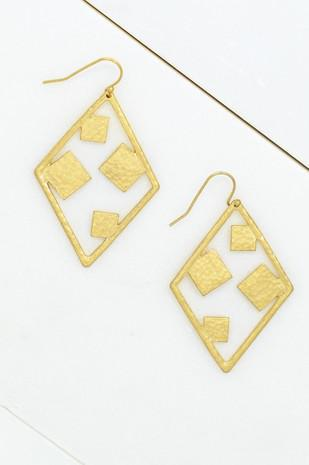 Hammered Diamond Shape Earrings